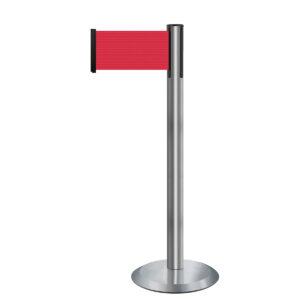 Tensabarrier® Advance Retractable Belt Barrier – Wide Webbing Brushed Stainless Red