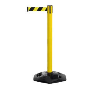 Tensabarrier® Facility Post - Plastic Retractable Belt Barrier Yellow Yellow Chevron