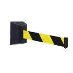 Tensabarrier® 4.6M Retractable Wall Mounted Barrier Black Yellow Chevron