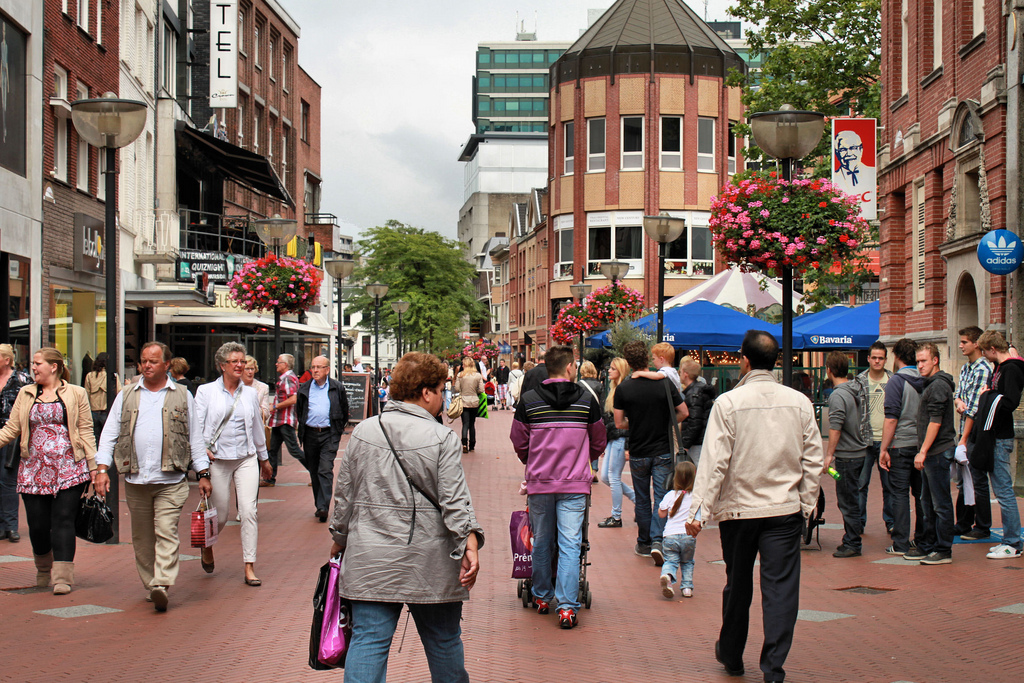 shoppers on high street