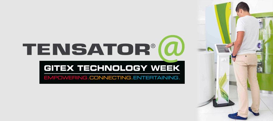 GITEX Technology week logo and Tensator's Prima Kiosk