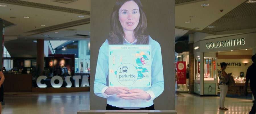 Tensator Virtual Assistant installed in the Grafton Shopping Centre, Cambridge UK