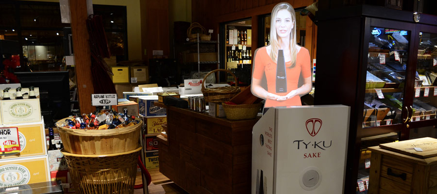 Tensator Virtual Assistant promoting TYKU's sake, virtual sommelier