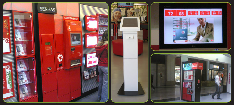 Components of Tensator's Virtual Queue Management Solution installed throughout Vodafone stores, Portugal